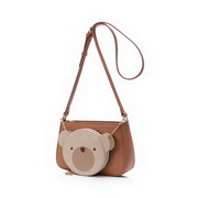 JUST STAR 2020 New Fashion Cute Bear Decoration Girl Shoulder Bag Apricot