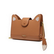 JUST STAR 2020 New Fashion Casual Cute Fox Design Women Shoulder Bag Brown