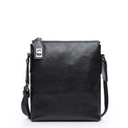First Layer Cow Leather Vertical Messenger Bag Black