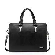 First layer real leather business men handbag Black
