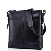 SAMMONS men's leisure cowhide shoulder bag Black