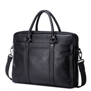 SAMMONS genuine leather men business bag Black