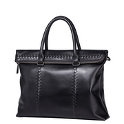 SAMMONS high quality genuine leather weaving tote bag black