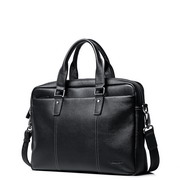 SAMMONS Genuine Leather 2017 New Fashion Business Laptop Bag Black