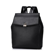 ZHUOLUXUE Genuine Leather 2016 Simple Pearl Decoration Backpack Black