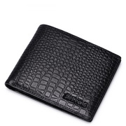2015 New the crocodile grain Genuine leather men short wallet black