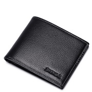 SAMMONS men leather wallet short style Black