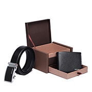 SAMMONS Luxury set leather belt and wallet black