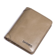 SAMMONS genuine leather short wallet Khaki