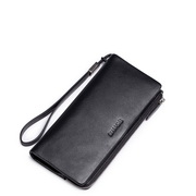 SAMMONS Genuine Leather Business Long Style Wallet Black