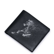 SAMMONS Genuine Leather 2016 Fashion Horse Short Style Wallet Black