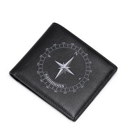 SAMMONS Cowhide Leather 2016 New Fashion Navigation Series Short Wallet Black