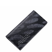 SAMMONS Genuine Leather 2017 New Printing Folded Long Style Wallet Black