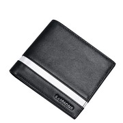 SAMMONS Genuine Leather 2017 New Business Gentleman Short Style Wallet Black