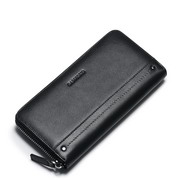 SAMMONS Genuine Leather 2017 Simple European Style Long Wallet Black