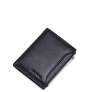 Manchester series head layer men multi-functional wallet Black