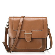 Cowhide leather messenger bag  Brown