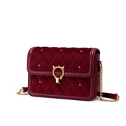 NUCELLE 2020 Autumn Design Vintage Velvet Women Shoulder Bag Red