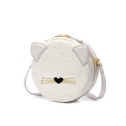 NUCELLE 2020 New Fashion Woolen Cute Cat Women Roung Bag White
