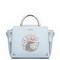 UST STAR PU Leather 2017 Spring Rose Embroidery Handbag Light Blue