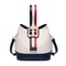 JUST STAR 2018 New Contrast Color Bucket Bag White