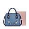 JUST STAR 2018 New Jean Fabric Embroidery Handbag Blue