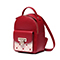 JUST STAR PU 2018 Special Heart Embroidery Backpack Red