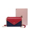 JUST STAR PU 2018 New Contrast Color Envelope Bag Blue