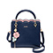 JUST STAR PU 2019 New Flower Women Handbag Deep Blue