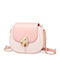 JUST STAR PU 2019 New Sweet Contrast Color Saddle Bag Pink