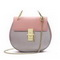 ZHUOLUXUE Genuine Leather 2016 New Brand Hot Selling Saddle Bag Pink&Silver